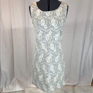 Nicole Benisti Sheer Appliqué Sheath Dress Sz S